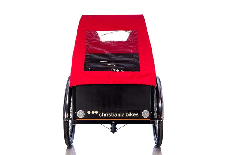 Bugatti kaleche i rød til Christiania bikes ladcykel