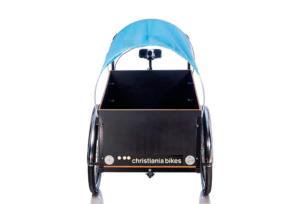 Prærie kaleche soltag i blå til Christiania bikes ladcykel