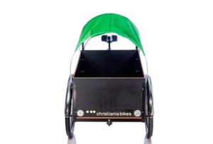 Prærie kaleche soltag i grøn til Christiania bikes ladcykel